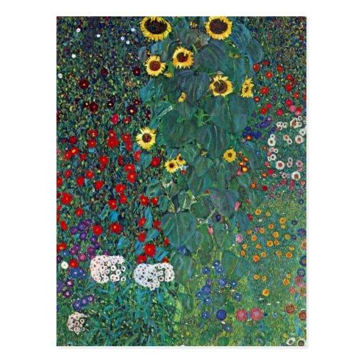 Farmergarden w Sunflower by Klimt, Vintage Flowers Post Card