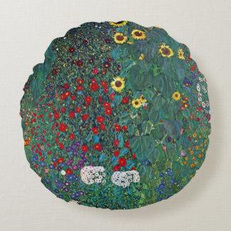 Farmergarden w Sunflower by Klimt, Vintage Flowers Round Cushion