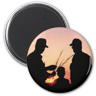 Farmers and Sunset 6 Cm Round Magnet
