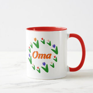 Farmer's Bright Dutch Tulips Pattern Oma Mug