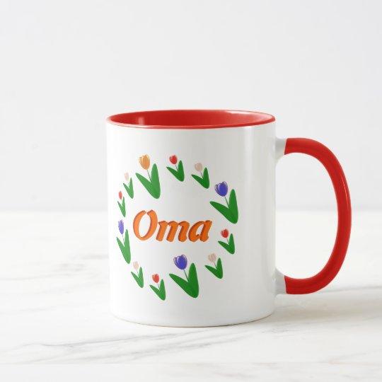 Farmer's Bright Dutch Tulips Pattern Oma Mug