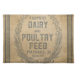 Farmers Dairy Poultry Feed Sack Burlap Placemat