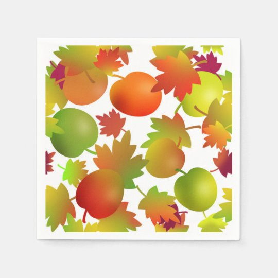 Farmer's Market Apples and Leaves Disposable Napkins
