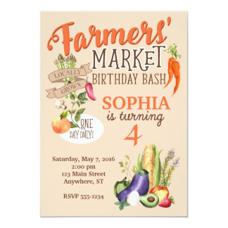 Farmers Market Birthday Invitation