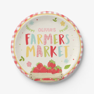 Farmers market birthday Paper Plates Strawberry