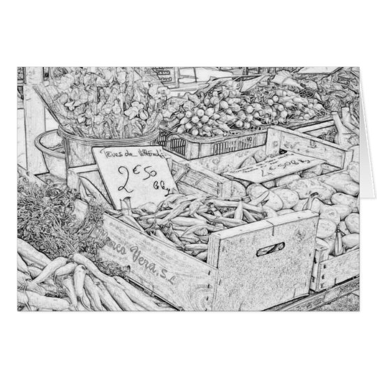 Farmer's Market Colouring Page Greeting Card