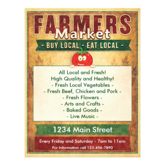 Farmers Market Eat Local Sign 21.5 Cm X 28 Cm Flyer