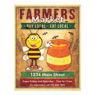 Farmers Market Fresh Local Honey 21.5 Cm X 28 Cm Flyer
