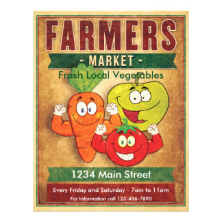 Farmers Market Fresh Local Vegetables 21.5 Cm X 28 Cm Flyer