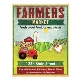 Farmers Market Fresh Produce and Meats 21.5 Cm X 28 Cm Flyer