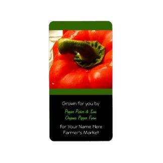Farmer's Market Fresh Red Peppers Label