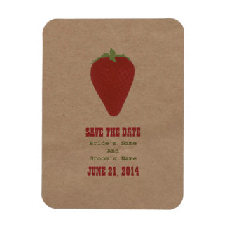 Farmers Market Inspired Save The Date | Strawberry Rectangular Photo Magnet