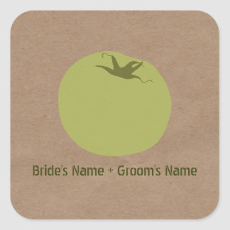 Farmers Market Inspired Wedding | Green Tomato Square Sticker