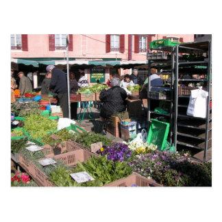 Farmer's market, Louans, Bresse,  stalls Postcard