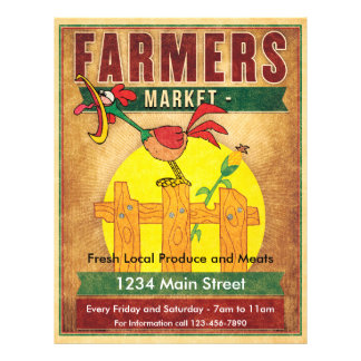 Farmers Market Morning Rooster 21.5 Cm X 28 Cm Flyer