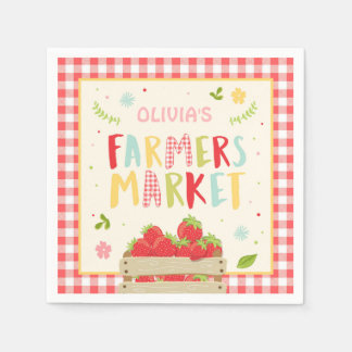 Farmers market Paper Napkin Red gingham Strawberry