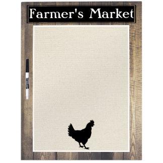 Farmer's Market Rustic Country Farmhouse Black Hen Dry Erase Board
