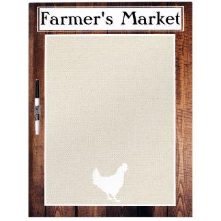 Farmer's Market Rustic Country Farmhouse White Hen Dry Erase Board