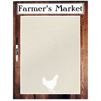 Farmer's Market Rustic Country Farmhouse White Hen Dry Erase Boards
