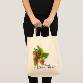 """""""Farmer's Market"""" with Fresh Strawberry Image Tote Bag"""