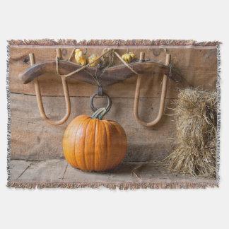 Farmers Museum. Pumpkin in barn with bale of hay Throw Blanket