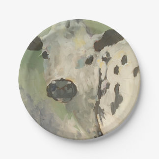 Farmhouse Baby Cow Baby Paper Plates 7 Inch Paper Plate