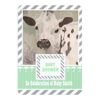 Farmhouse Baby Shower Cow Invitation