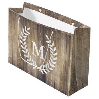 Farmhouse Barn Wood White Laurels Initial Letter Large Gift Bag