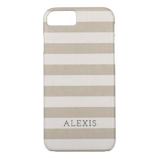 Farmhouse Beige Linen Stripes Monogram iPhone 8/7 Case