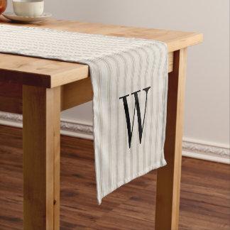 Farmhouse Beige Linen Ticking Stripes Monogram Short Table Runner