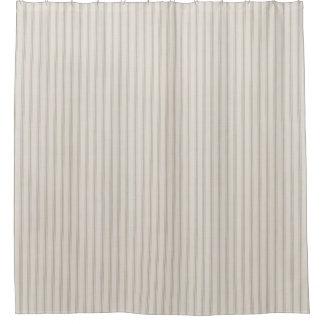 Farmhouse Beige Linen Ticking Stripes Shower Curtain