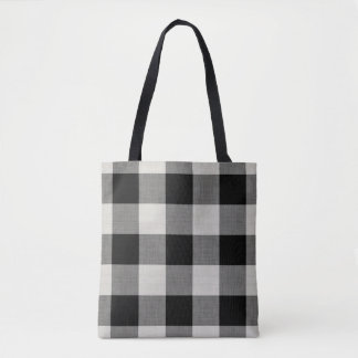 Farmhouse Black Buffalo Check Tote Bag