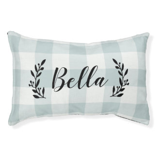 Farmhouse Blue Buffalo Check Monogram Pet Bed