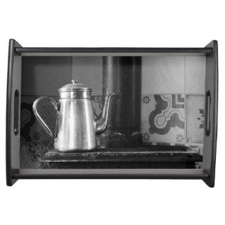 farmhouse coffee pot on the stove. serving tray