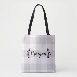 Farmhouse Gray Buffalo Check Monogram Tote Bag