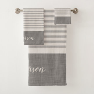Farmhouse Gray Linen Stripes Monogram Bath Towel Set