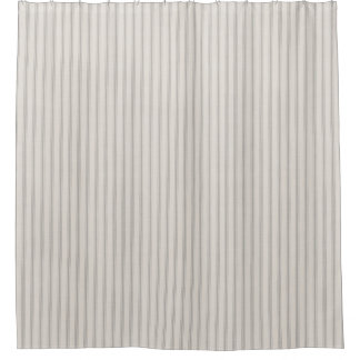Farmhouse Gray Linen Ticking Stripes Shower Curtain