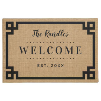 Farmhouse Greek Key Family Monogram Doormat
