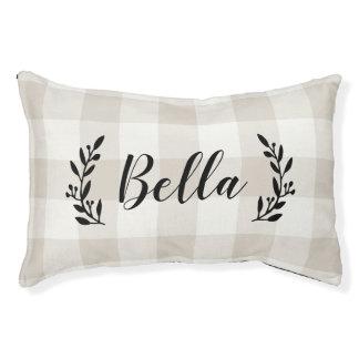 Farmhouse Linen Buffalo Check Monogram Pet Bed