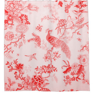 Farmhouse-Peacock-Floral-Tranquil Rose Shower Curtain