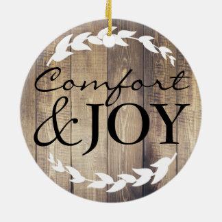 Farmhouse Rustic Comfort & Joy Family Name Christmas Ornament