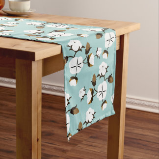 Farmhouse Rustic Cotton Flowers & Teal Long Table Runner