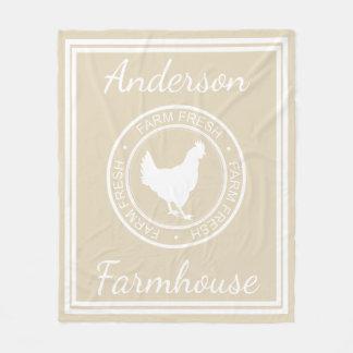 Farmhouse Rustic Farm Fresh Hen & Family Name Fleece Blanket