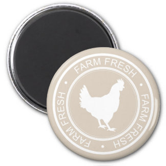 Farmhouse Rustic Farm Fresh White Hen on Taupe 6 Cm Round Magnet