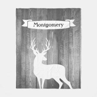Farmhouse Rustic White Deer Ribbon Family Name Fleece Blanket