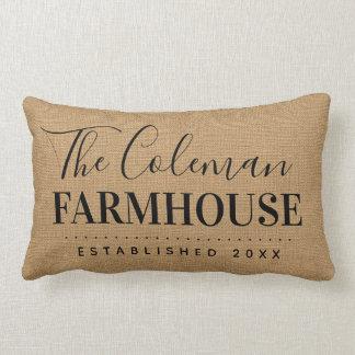 Farmhouse Tan Family Monogram Throw Pillow
