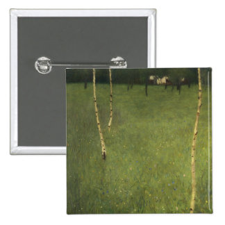 Farmhouse with Birch Trees, 1900 15 Cm Square Badge