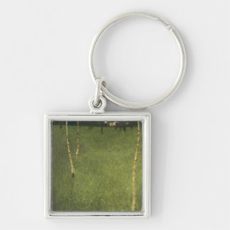 Farmhouse with Birch Trees, 1900 Silver-Colored Square Key Ring