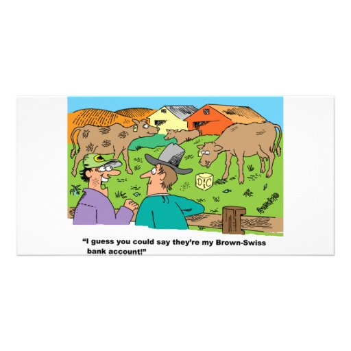 FARMING CARTOON HUMOR ABOUT BROWN SWISS CATTLE PHOTO GREETING CARD