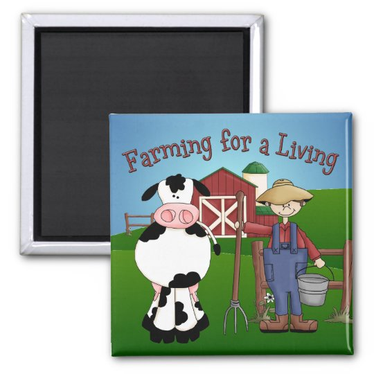 Farming Cartoon Magnet